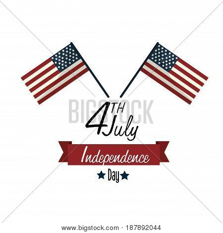 independence day with flags and ribbon design, vector illustration design