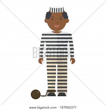 Prisoner in uniform. Flat vector cartoon illustration. Objects isolated on a white background.