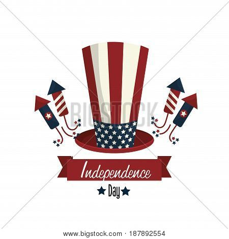 independence day with hat and firewords, vector illustration