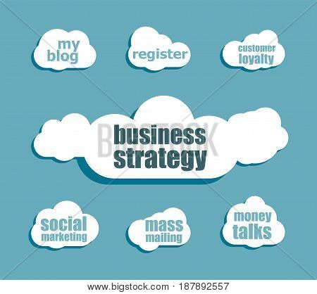 Business Strategy Word. Business Concept . Design With Abstract Speech Bubble Set