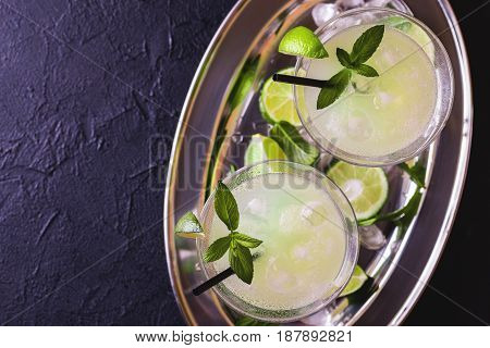 Classic Daiquiri Cocktail With Lime, Ice And Mint