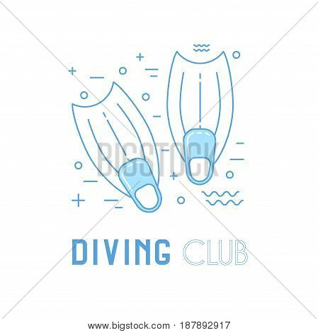 Scuba Diving Line Art Illustration With Fins