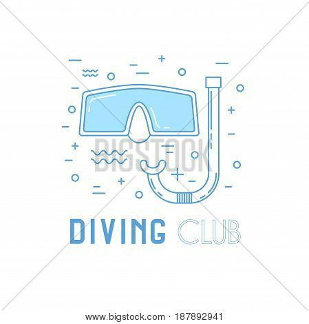 Scuba Diving Line Art Illustration With Mask.