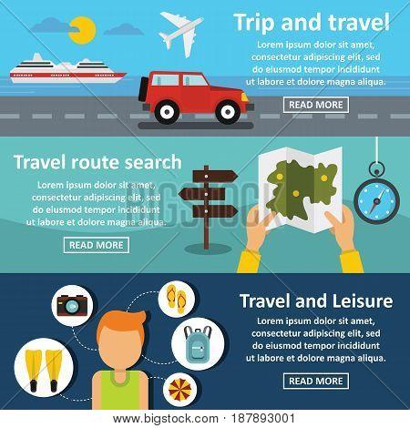 Travel trip banner horizontal concept set. Flat illustration of 3 travel trip vector banner horizontal concepts for web