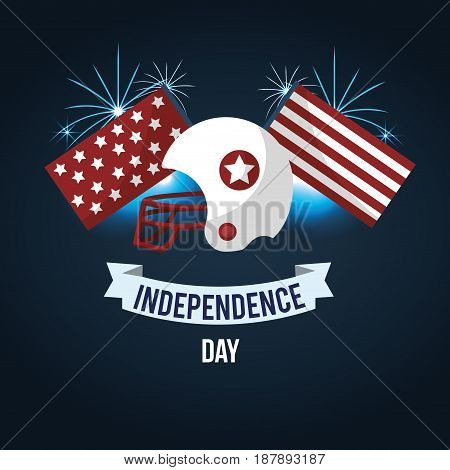 independence day with american helmet and ribbon, vector illustration