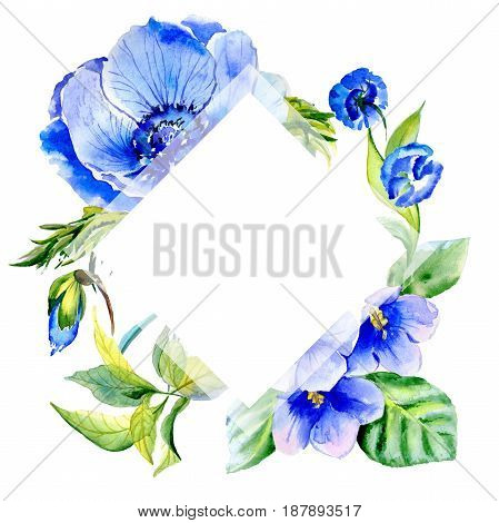 Wildflower anemone flower frame in a watercolor style isolated. Full name of the plant: blue anemone. Aquarelle wild flower for background, texture, wrapper pattern, frame or border.