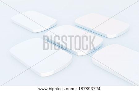 minimalistic smartphone mockup shapes on white table 3d illustration
