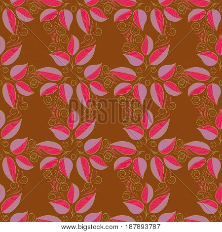 Vector illustration with many blue leaves. Trendy seamless floral pattern.