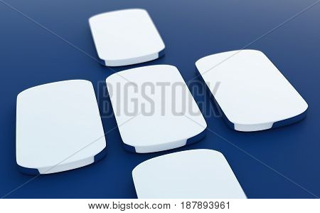 minimalistic smartphone mockup on white table 3d illustration