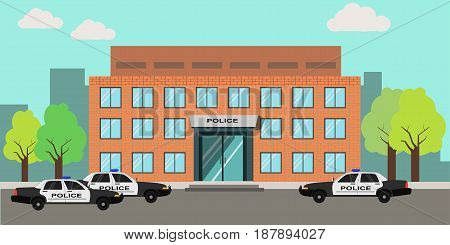 Vector illustration of an exterior of police station building with cars parked at the entrance.
