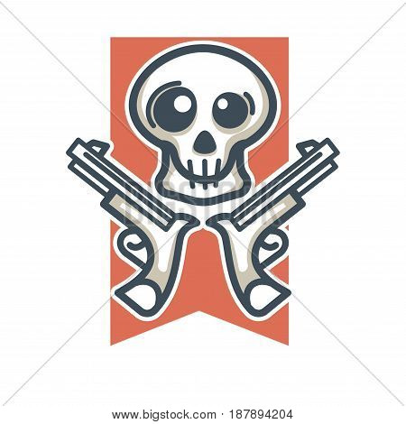 Vector illustration of skull with two handguns emblem isolated on white,