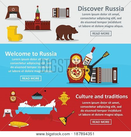 Russia travel banner horizontal concept set. Flat illustration of 3 Rusia travel vector banner horizontal concepts for web