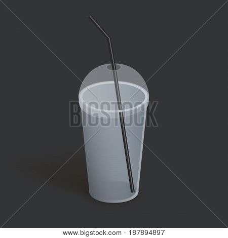 Plastic cup with lid for coffee, tea, smoothies, juice. Realistic empty glass. Vector illustration on dark background