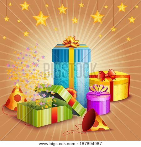 Composition of gift boxes fireworks stars and confetti