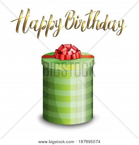 Illustration of a gift box and inscription HAPPY BIRTHDAY on a white background