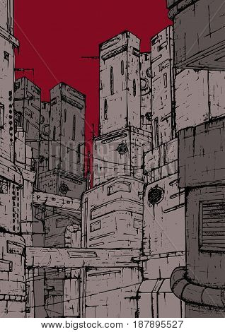 Cyberpunk city. Fantastic constructions. High-rise buildings on a background of red, burgundy sky. Colorful hand drawn illustration