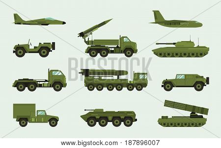 Set of different military transport. Modern equipment collection fighting machine, air defense, car, truck, tank, armored vehicles, artillery pieces. Vector illustration in flat style.