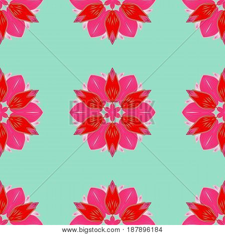 Abstract ethnic vector seamless pattern. Tribal art boho print vintage flower background. Background texture sketch floral theme in blue colors.