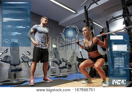 sport, fitness, bodybuilding, exercising and people concept - man and woman with bar flexing muscles in gym over virtual charts
