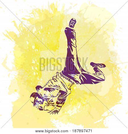 Break dance dancer on handcrafted splashes background modern trend background. Good for flayer web banner print party invitation.