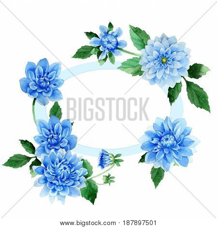 Wildflower dahila flower frame in a watercolor style isolated. Full name of the plant: blue dahila. Aquarelle wild flower for background, texture, wrapper pattern, frame or border.