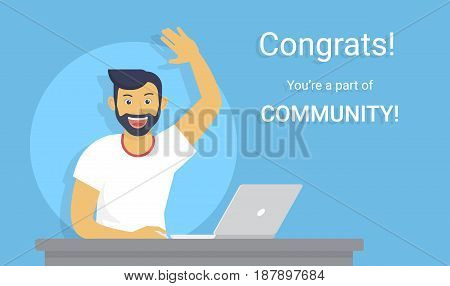 Congratulations you are a part of community. Flat vector illustration of young happy guy working with laptop and surprised to win online contest. New great idea and smiling man web banner design