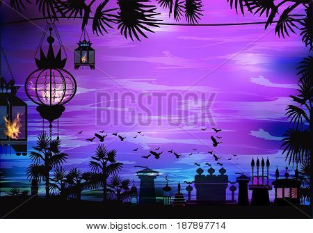 Ramadan. A lantern on a tree. Light in the night sky. sunset. Purple background. Sunset religion September Islam. Translation of the text from Arabic: Ramadan . Palm trees - tropics