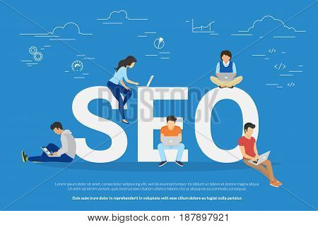 SEO concept vector illustration of people using laptops for developing and optimizing website or mobile app. Flat modern design of young programmers coding a new project and analysing search engine