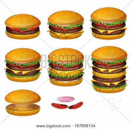 Illustration of a set of various sized burgers with combinations from classic hamburger to super giant burger