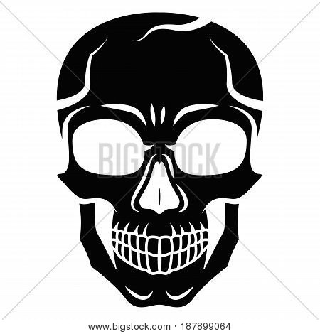 Black stylized skull isolated on white background. Outline style. Tatoo. Modern print. Coloring for adults. Vector illustration.