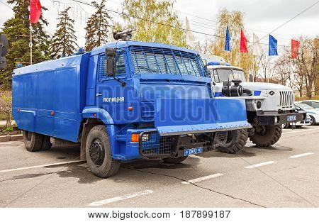 Samara Russia - May 20 2016: Russian police heavy truck to disperse demonstrations parked at the city street in summer day
