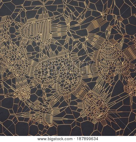 Abstract voronoi gold pattern on dark gray background. 3d rendering