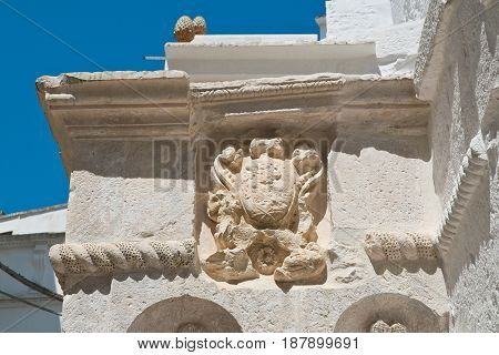 Close up of a historical palace of Cisternino. Puglia. Italy.