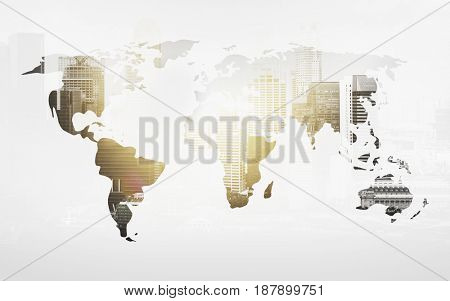 economics and global business concept - world map with city over white background