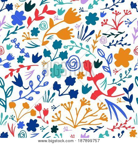 Hand Drawn Floral Seamless Pattern. Doodle Vector Print.