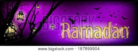 Ramadan. Religion September Islam. Translation of the text from Arabic: Ramadan . Purple sky and the silhouette of a tree with fire lanterns giving light and gilded inscription.