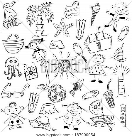 Hand Drawings of Summer Vacancies Symbols. Doodle Boats Ice cream Palms Hat Umbrella Jellyfish Cocktail Sun and Kids.. Vector Illustration.