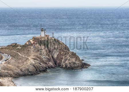 Cabo de Gata lighthouse aerial in Almeria Andalusia Mediterranean sea of Spain