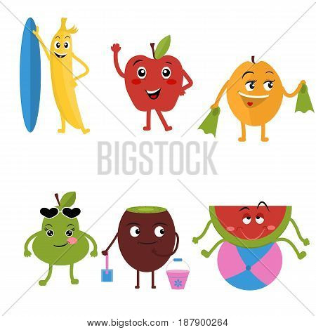 Cute characters fruit cartoon isolated vector illustration. Funny banana Apple apricot pear kiwi and watermelon. Happy smiling emoticon face with open mouth a comical fruit mascot
