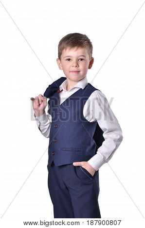 Smiley boy in blue suit on white background isolated