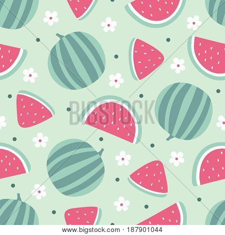 Watermelon seamless pattern with flowers isolated on green background. Vector illustration