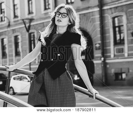 young woman in the city, summer time, black and white picture