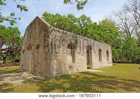 Tabby wall ruins of the Chapel of Ease from Saint Helenas Episcopal Church on Saint Helena Island in Beaufort County South Carolina