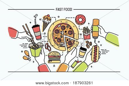 Horizontal banner with fastfood. Composition with different products hot dog with mustard, pizza, noodles, donut, ice cream, french fries, burger, ola. Colorful vector lineart illustration