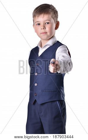 Schoolboy with usb flashdrive isolated on white background