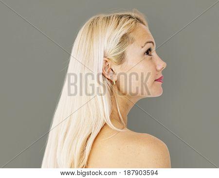 Caucasian woman portrait side view