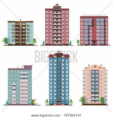 Set of different panel residential houses. collection of colorful vector flat illustration