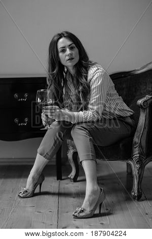 Smiling Beautiful Elegant Young Woman With Glass Of Wine