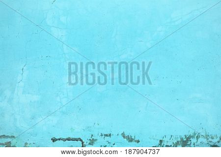 Wall Texture Turquoise Color, Concrete Structure Closeup As An Urban Background