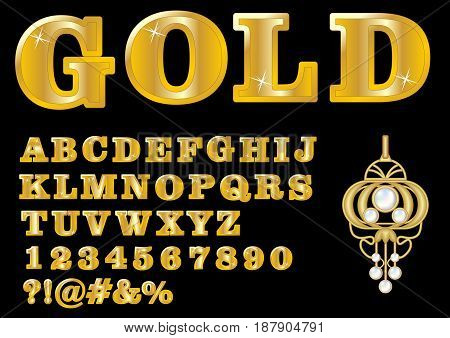 Alphabet in luxury gold design, uppercase letters, numbers, question and exclamation mark, antiquarian golden jewel with pearl included, vector EPS 10